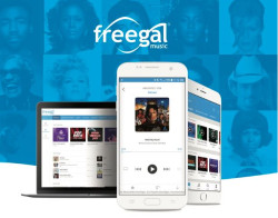 Talblet und Handy mit der Music-App Freegal