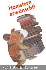 Hamster mit medizinischer Maske, der einen Bücherstapel trägt