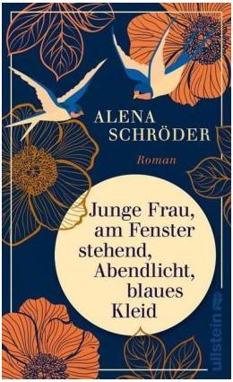 """Titelbild des Buches """"Junge Frau, am Fenster stehend, Abendlicht, blaues Kleid"""" von Alena Schröder, Foto: buchkatalog.de"""