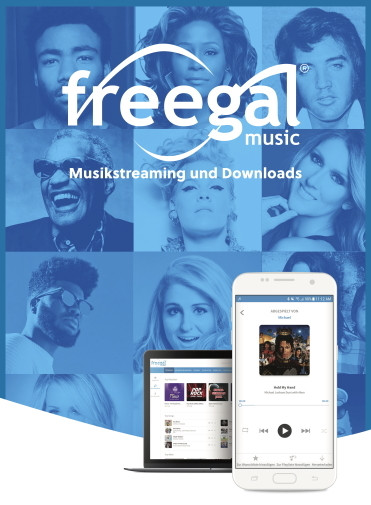 Tablet und Handy vor dem Logo der Musikdatenbank Freegal Music